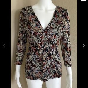 Emma James Womens Blouse Size M Sheer Tie Back